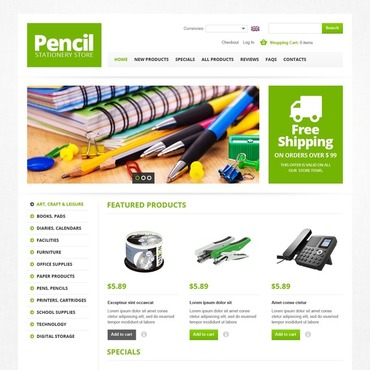 Stationery ZenCart Template