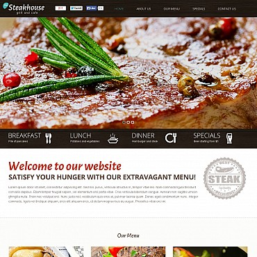 Steakhouse Flash CMS Template