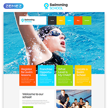 Swimming School Website Template #52860