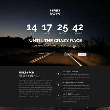 Car Racing Responsive Landing Page Template