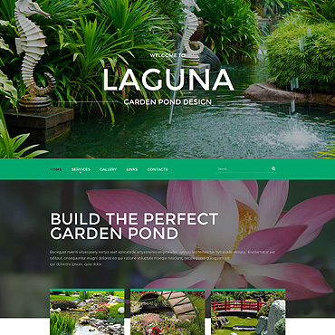 Garden Pond Design Website Template #55056
