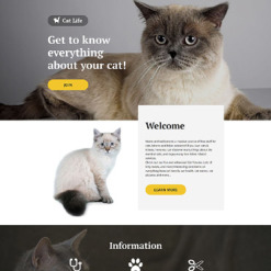 Cat Responsive Landing Page Template