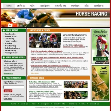 Horse Racing Website Template